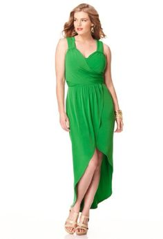 Avenue Plus Size Faux Wrap Hi Low Dress, Green 30/32 coupon| gamesinfomation. Now that is cute