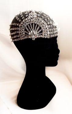 Lujon Swarovski Art Deco 1920's Tulle Headpiece by WillowMoone, $480.00