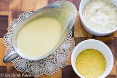 Paleo Cheese Sauce. Makes 2 cups. 1.25 cup chicken stock; 1/4 cup olive oil; 1.5 T tapioca flour; 1/4 cup nutritional yeast flakes; 1 T white miso; 2 T lemon juice; 1 tsp onion powder; 1 small garlic clove, finely diced; sea salt; 1/2 cup almond meal. Whisk stock, oil & flour to a small heavy bottom saucepan. Bring to boil & let thicken, whisking. Add the yeast flakes, miso, lemon juice, onion, garlic & salt. Whisk. Add the almond meal. Whisk again. Reheat for ~2 minutes over medium-low…