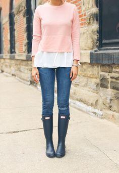 blush peplum sweater, blue denim high waist jeans