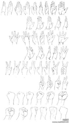 Hand expression drawing refrence