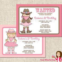 PRINTABLE Cowgirl Party Invitations by yourblissfulday on Etsy, $10.00