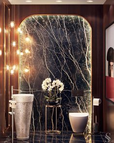 home accents luxury Yes! Its a bathroom. So surreal. Would you go for an accent wall like this one mm. Washroom Design, Toilet Design, Bathroom Interior Design, Home Interior, Interior Decorating, Led Lighting Home, Luxury Home Decor, Outdoor Walls, Master Bathroom