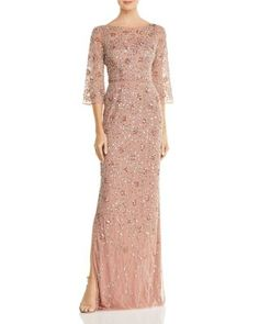 Aidan Mattox Embellished Boatneck Gown - rose gold pink mother of the bride dress Mother Of The Bride Dresses Long, Mother Of Bride Outfits, Mothers Dresses, Long Mothers Dress, Mob Dresses, Dresses With Sleeves, Petite Dresses, Valentino 2017, Aidan Mattox