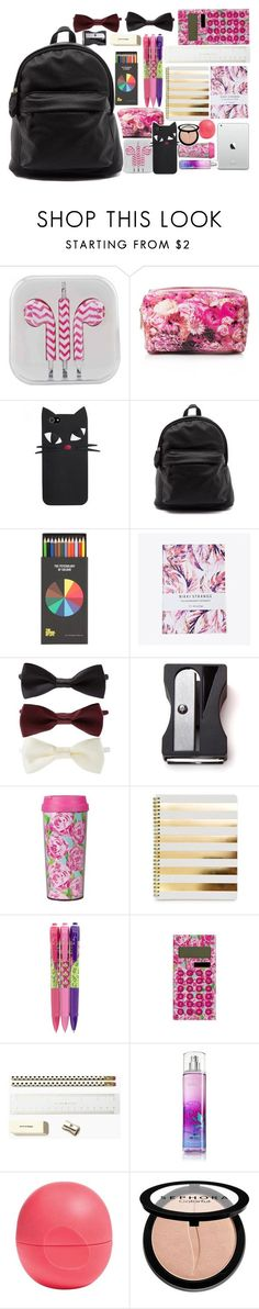 """What is in my backpack?"" by isabelapbarreto ❤ liked on Polyvore featuring Forever 21, Nikki Strange, Monkey Business, Lilly Pulitzer, Vera Bradley, Kate Spade, Eos, Sephora Collection, BackToSchool and whatisinmybag"