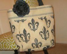Burlap Tote Bag Fleur De Lis by BBELLECOUTURE on Etsy, $48.50