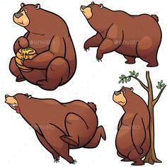 Buy Cartoon Bear by SARAROOM on GraphicRiver. Vector illustration of Cartoon Bear Character Set Bear Cartoon, Cartoon Pics, Cartoon Styles, Cartoon Drawings, Animal Drawings, Bear Character, Character Poses, Character Design, Bear Drawing