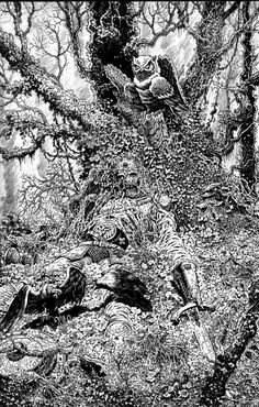 forest king inking almost done by dynapop on DeviantArt Ink Illustrations, Illustration Art, Dark Fantasy, Fantasy Art, Black And White Sketches, Ink Pen Drawings, Science Fiction Art, Horror, Comic Artist