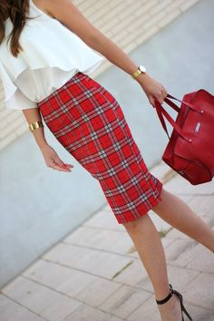 Check Pencil Skirt by Lady Framboise