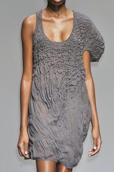 Shirring & Decorative Gathering - fabric manipulation for fashion design; textured dress detail #textiles // Calvin Klein