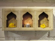 Handcarved Marble Mughal Style 3 Way Candle Niche