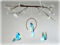 Spring love birds and cherry blossoms mobile  by Lullaby Mobiles  www.lullabymobiles.etsy.com