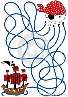 Coloriage Labyrinthe De Bateau De Pirate Images libres de droits - Image: 33392149
