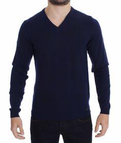 Versace Blue Wool V-neck Sweater