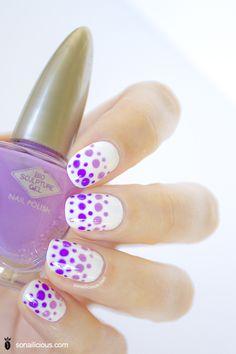 Gradient lilac dots nails - fashion inspired nail art - DAY 7 nail art challenge