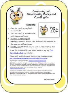 Bee-themed cards showing money amounts are used for two different activities:1. Show the amount 2 ways using coins2. Count on by dimes (10s) ...