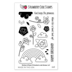 Strawberry Jude Stamps RAINBOW & ROSES Clear Stamp Set SJ UJC0044* Preview Image