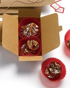 Pecan Sea-Salt Drops-Chopped pecans are suspended in caramel and sprinkled with sea salt flakes. Package these praline-like candies in kraft ballotin boxes and adhere a clip-art gift label with a message of sweet tidings for the recipient.