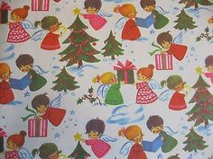Vintage Christmas Gift Wrap Paper 1950 s Adorable Angels Helping with Christmas Christmas Calendar, Christmas Past, Christmas Angels, Christmas Gifts, Xmas, Vintage Gifts, Vintage Cards, Vintage Toys, Vintage Christmas Wrapping Paper