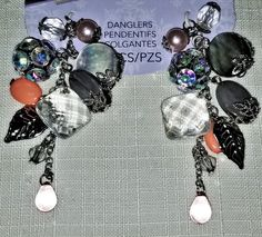 C-107; a Set of Tori Spelling Dazzlers-Gorgeous Drops of Rhinestones, MOP, Faceted Glass, Peach Beads and Accented with Silver Lace Heart, Upcycled Crafts, Faceted Glass, Peach Colors, Red Lace, Craft Items, Handmade Items, Drop, Pearls