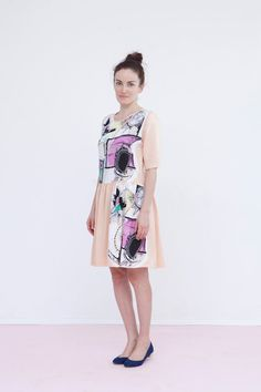 Spring peach colorful dress by Biantika on Etsy, ₪317.00