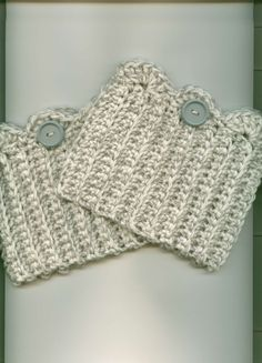 Hand Crocheted Boot Cuffs/Toppers-$10.00 -WHITE/GRAY w/ Gray Button - Free Shipping US #Handmade