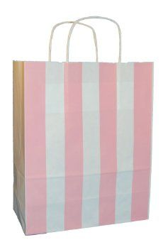 """20 LIGHT PINK/WHITE STRIPE Thepaperbagstore TWIST HANDLE PAPER CARRIER BAGS 10""""x4.5""""x12"""" - CHOOSE YOUR SIZE AND COLOUR: Amazon.co.uk: Kitchen & Home"""