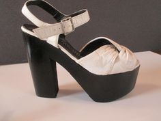 vintage 70's white leather 6'' platform hippie disco shoes sz 7 1/2 #LadyArrowsmith #Platform