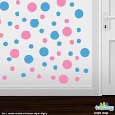 Pink / Ice Blue Polka Dot Circles Wall Decals