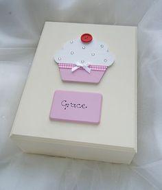 Personalised Large Wooden Keepsake Box with Cupcake design