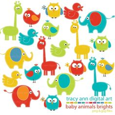 Items similar to Bright Baby Animals Clipart Mega Set Clip art on Etsy Baby Owls, Cute Baby Animals, Cute Animal Clipart, Baby Animal Drawings, Owl Clip Art, Baby Art, Woodland Creatures, Baby Shower, Illustrations