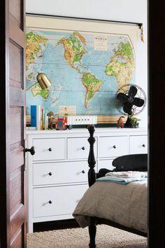 farmhouse boys room, vintage map, antique map, school map