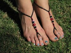 Black and Red Pearl barefoot sandals