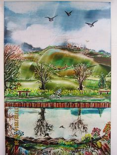 using beeswax and travel iron and stylus,size A6,IMG 1365,Titled-CANAL SIDE.Done feb-2014