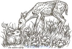 Deer Bambi and Bunny Wood Mounted Rubber Stamp Northwoods Rubber Stamp New