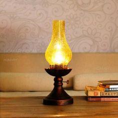 Antique Kerosene Lamp Cracked Glass Shade Single-Light Table Lamp & Metal Round Base