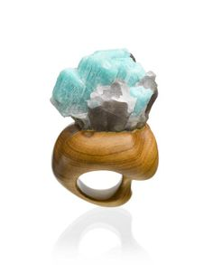 """ICE BLUE""  Blue Amazonite Crystal and African Olivewood  By Christine J Brandt"