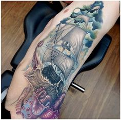 Release the Kraken! Tattoo by Yliana Paolini Tattoo You, New Tattoos, Cool Tattoos, Tattoo Ship, Amazing Tattoos, Cloud Tattoo, Octopus Tattoos, Just Ink, Tattoo Zeichnungen