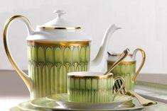 Deshoulieres green arcade tea set