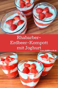 Rhabarber-Erdbeer-Kompott mit Joghurt Rezept, Einfach und lecker, Erdbeeren, sommerlich, Nachtisch, naschen, Obst, Kompott