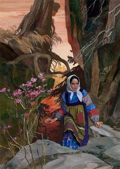 """The Mistress of the Copper Mountain"" - Tales of Pavel Bazhov, illustrated by Vyacheslav Nazaruk Klimt, Beautiful Green Eyes, Mountain Illustration, Copper Mountain, Underground World, Legendary Creature, Russian Folk, Woman Drawing, Woodblock Print"