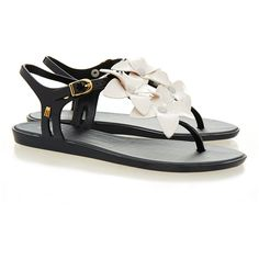 Melissa Solar Hawaii Black Flower Sandal ($44) ❤ liked on Polyvore featuring shoes, sandals, black, slip on sandals, floral shoes, black shoes, slip-on shoes and black flat sandals