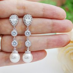 Weddings Bridesmaid Gift Bridal Jewelry Bridal Earrings Bridesmaid Earrings Swarovski Pearls and CZ connectors drop dangle earrings