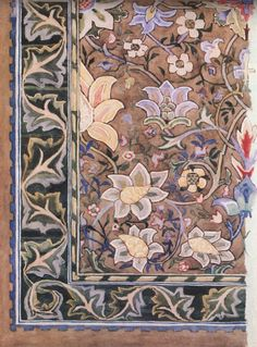 William Morris watercolor of rug design.  Would love to own one like this, for sure!