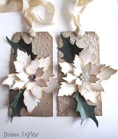 Christmas tags by Velvet Moth Studio (using Tim Holtz Poinsettia die)