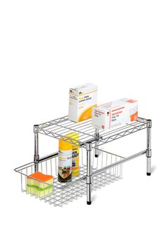 HONEY-CAN-DO Adjustable Shelf with Under Cabinet Organizer