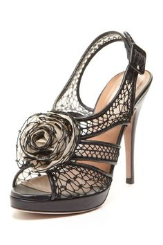 Valentino Lace Mesh Flower Sandal by Sole Attraction on @HauteLook