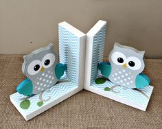 Owl Bookends - Wooden Bookends - Owl Nursery Decor - Kids Room Decor - Animal Wooden Bookends - Baby Shower Gift - Woodland Nursery Decor by TimelessNotion on Etsy