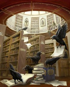 """Crows Ravens:  """"#Ravens In the Library,"""" print by Rob Carlos."""