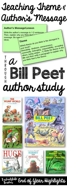 Bill Peet Author Study focused on Theme and Author's Message for 3rd 4th 5th grade (google drive author study project)